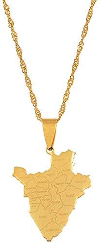 BEISUOSIBYW Co.,Ltd Collar Tarjeta de Burundi Collar con Nombre de Estado Collar de Burundi con Colgante Joyas de Acero Inoxidable Collar de Regalo de Burundi