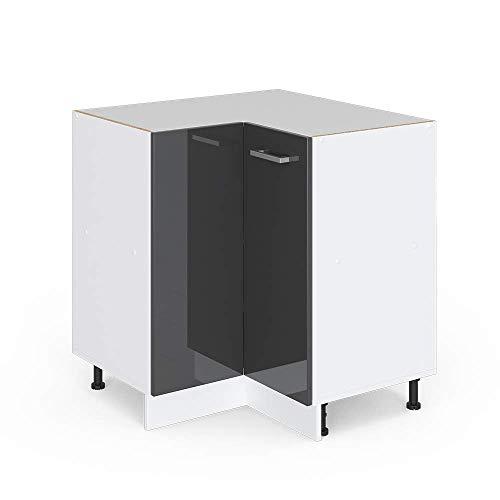 Vicco Küchenschrank Hängeschrank Unterschrank Küchenschränke Küchenunterschrank Arbeitsplatte, Möbel verfügbar in anthrazit und weiß (anthrazit ohne Arbeitsplatte, Eckunterschrank 87 cm)