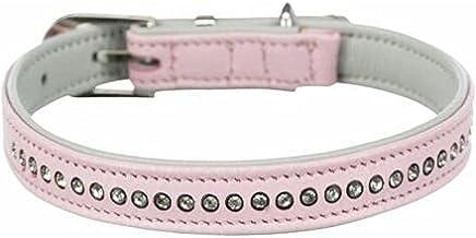 Trixie halsband hond active comfort met strass steentjes leer roze (27-33X1,5 CM)