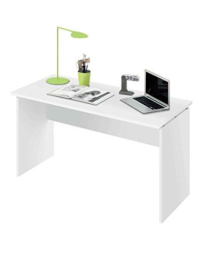 Abitti Escritorio Mesa de Ordenador Multimedia Color Blanco Brillo para despacho, Oficina o Estudio, Grosor 22MM. 120cm Ancho x 76cm Altura x 68cm Fondo
