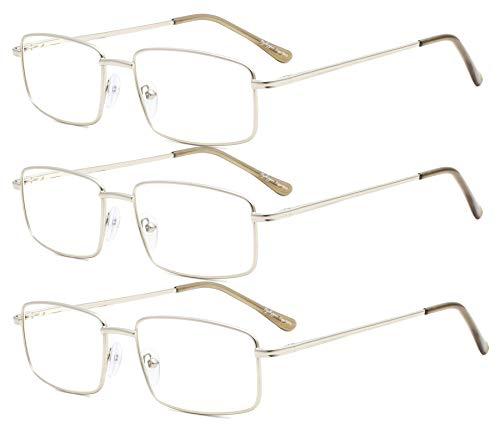 Eyekepper - Juego de 3 gafas de lectura rectangulares con bisagra de metal para hombre, color plateado + 3,50