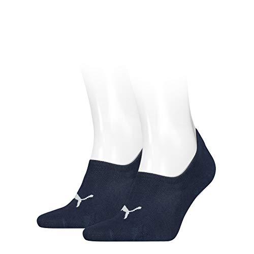 PUMA Womens Women's High-Cut Footie (2 Pack) Socks, Denim Blue, 39/42