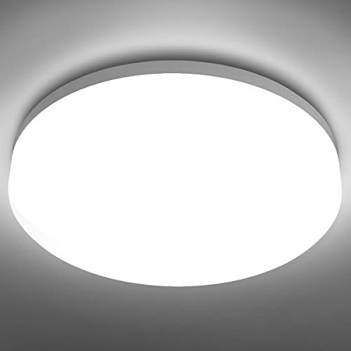 LE Flush Mount Ceiling Light Fixture Waterproof LED Ceiling Light for Bathroom Porch, 5000K Daylight 15W (100W Equivalent) 1250lm Ceiling Lamp for Kitchen, Bedroom, Living Room, Hallway, Non Dimmable
