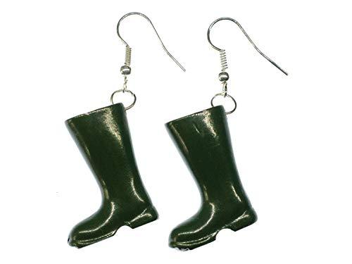 Miniblings Gummistiefel Stiefel Boots Ohrringe - Handmade Modeschmuck I Schuhe grün - Ohrhänger Ohrschmuck versilbert