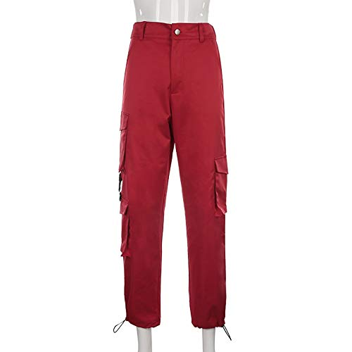 XinXinFeiEr Soft Mujeres Alta Cintura Azul Pantalones de Carga Moda Pantalones Sueltos Pantalones for Mujer Streetwear Patchwork Lápiz Lápiz Pantalones de Sudor De Moda (Color : Red, Size : L)