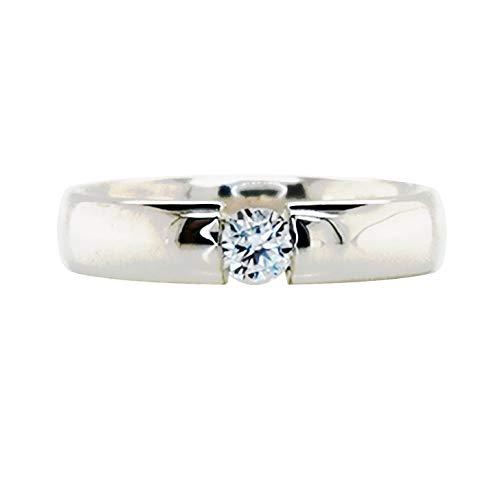 Sogni d´oro Silberzeit Damenring aus 925 Sterling Silber mit rund Zirkon Edelstein weiß ca. 4 mm Ø, ca. 0,4 ct Spannring-Optik, Ringgröße 18 (ca. 57)