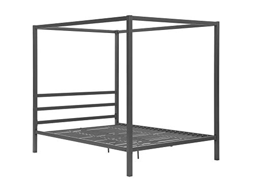 DHP 5584296 Modern Canopy Bed with Built-in Headboard - Queen Size (Gray)