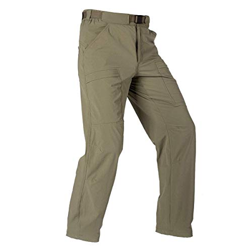 FREE SOLDIER Men's Outdoor Cargo Hiking Pants Lightweight Waterproof Quick Dry Tactical Pants Nylon Spandex (Mud, 34W x 30L)