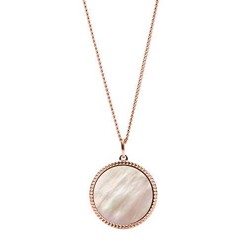 Fossil Vintage Iconic - Collana in acciaio inossidabile tonalità oro rosa con ciondolo moneta in madreperla rosa per donna JF03276791