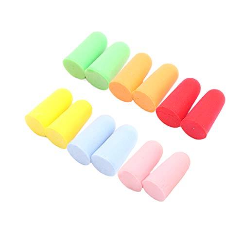 Tapones para los oídos para dormir, 12 pares de 6 colores, esponja suave y cancelación de ruido