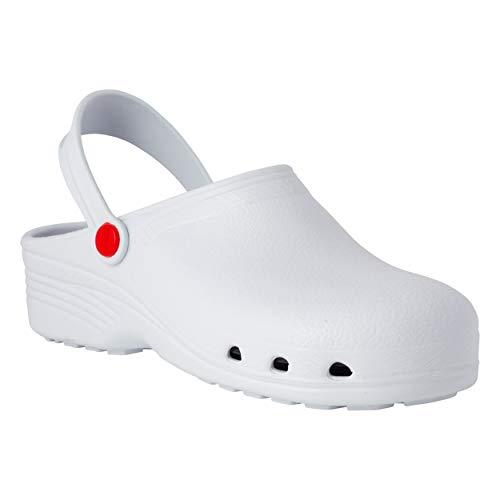 REPOSA Ultralight Zuecos Sanitarios, Zapatos de Enfermera Material eva, Zapatos Sanitarios Ligeros Tipo Zueco, Superior Cerrada, Agujeros Laterales, Plantilla anatómica, Suela SRC