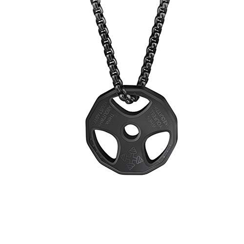 QEPOL Hantel Anhänger Halskette, Titan Edelstahl Fitness Gym Halskette Gewicht Platte Langhantel Hantel Halsketten Männer Frauen Kette Anhänger (Schwarz)