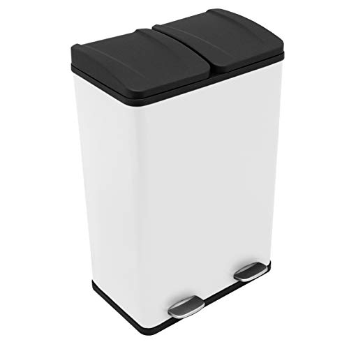 Recycling Pedal Bin Double Compartments Large 60L Rubbish Capacity Heavy-duty Metal Dustbin In White Kitchen Waste Garbage Dual Trash Can Eco