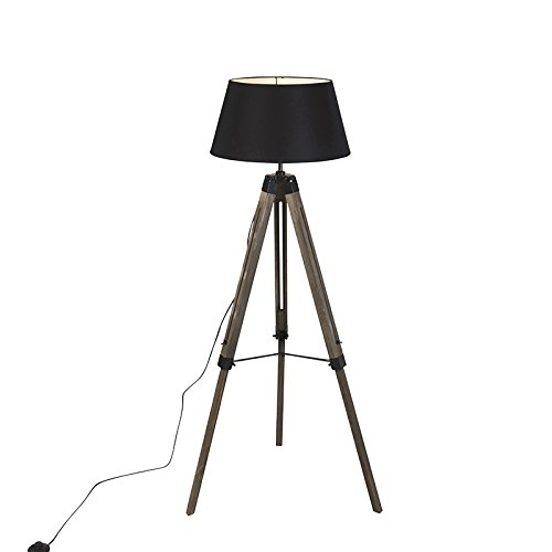 QAZQA Industrie/Industrial Industrielle Stehlampe auf hölzernem Stativ mit schwarzer Haube - Rio/Innenbeleuchtung/Wohnzimmerlampe/Schlafzimmer Holz/Textil Andere LED geeignet E27 Max. 1 x 60