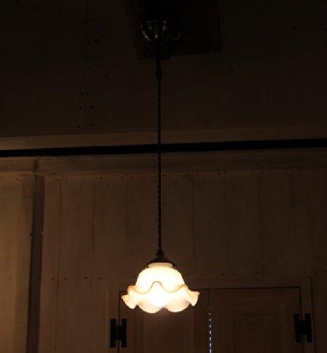ミルクガラスシェードウェーブS ペンダントランプ SET(コード長:55~100cm)