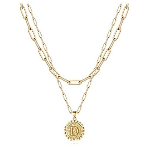 Fnho Collares de Perlas Blancas,con Diamantes de imitación de Cristal,Collar Simple Letra, Cadena de clavícula con Clip de Papel-D