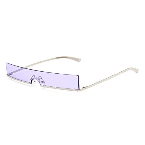 KCGNBQING Gafas de Sol Europa y la Moda de Estados Unidos Marco Estrecho Gafas de Sol cuadradas Metal Pequeño Marco Color UV400 Protección Unisex Gafas de Sol de Moda Hombre/Mujer (Color : Purple)