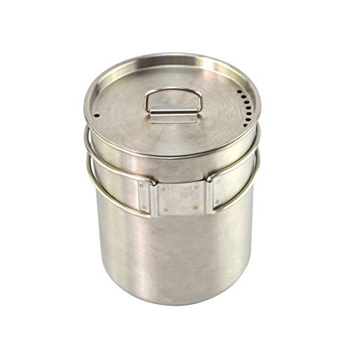 Camping Cookware Cup 800ML Stainless Steel Pot Water Mug Cup with Lid and Foldable Handle Outdoor Camping Pot Cooking Pots Picnic Hang Pot