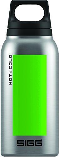 SIGG Hot & Cold Accent Green, Vakuum-isolierte Thermo-Flasche aus Edelstahl, 0.3 L, BPA Frei, Grün