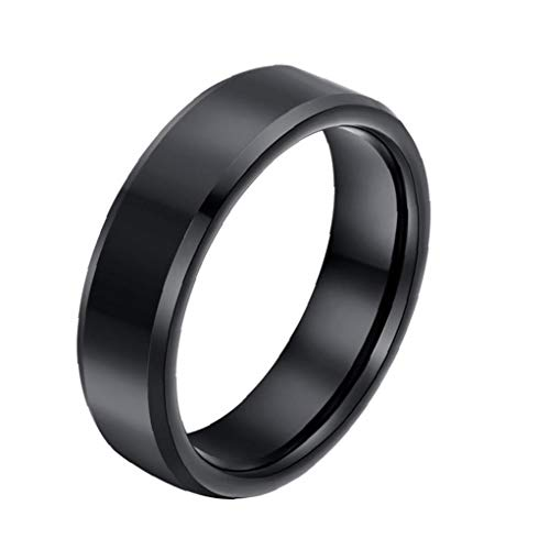 Odoukey Los Hombres del Anillo de Dedo Brillo Color Sólido Diseño Anillo de Acero Titanium de los Hombres Casual Ring Size 12 Negro