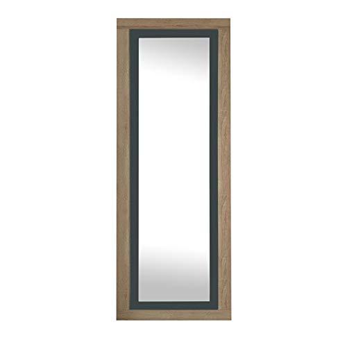 duehome Espejo de Pared, Espejo Rectangular, Espejo Mural con Luna, Modelo Lara, Acabado en Color Cambria y Grafito, Medidas: 60 cm (Ancho) x 180 cm (Alto) x 3,5 cm (Fondo)