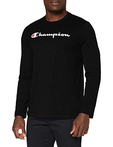 Champion Hombre - Camiseta de Manga Larga Classic Logo - Negro, S