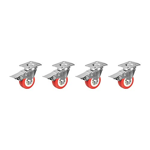 AmazonCommercial 2-Inch Top Plate Swivel PVC Caster with Brake, Red, 4-Pack