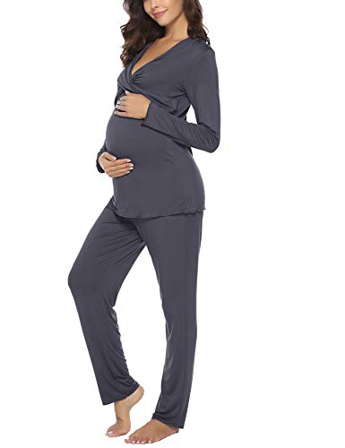 Aibrou Pijama Lactancia Invierno de Manga Larga Pijamas Premamá Embarazadas Algodón Conjunto de Maternidad para Mujer (Gris Oscuro*1, Large)