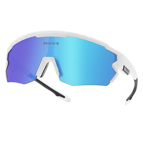 ACS1986 Polarizzati Anti-UV con 3 Lenti Occhiali da Ciclismo Intercambiabili per Sport. Motociclismo e Bicicletta Guidare Correre Pescare Sciare Arrampicarsi Polarizzati Occhiali. (Blue White)