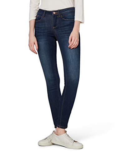 TOM TAILOR Damen Jeanshosen Alexa Skinny Jeans  Dark Stone wash Denim,27/32