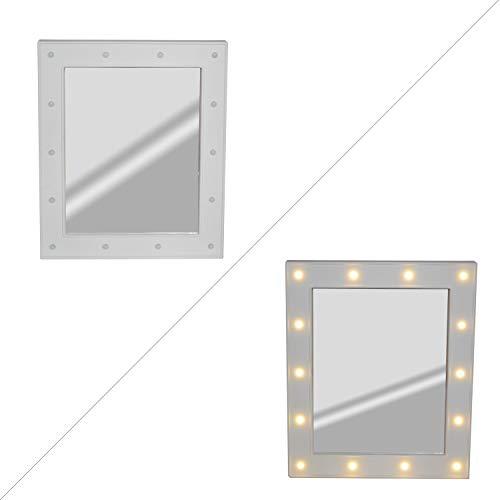 DRULINE Kosmetikspiegel beleuchtet Spiegel Schminktisch Monierbar mit LED Beleuchtung Schminkspiegel Kosmetik Makeup Hell mit Schaltknopf aus Kunststoff Glas | L x B x H 27 x 3 x 32 cm | Weiß