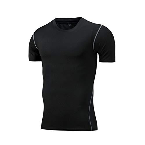 Elwow Camicia da uomo elastica traspirante fitness sauna con design più sottile e sudore, da corsa, palestra, allenamento fitness a maniche corte (nero, XL)
