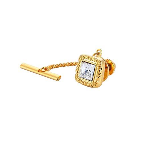 Fibra Plaza Cristal for hombre Checa tachuela de lazo Pin Camisa Corbata clips pasadores de bloqueo del botón con cadena de boda de los hombres del lazo de la hebilla Ropa ( Metal color : Gold Color )