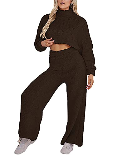 Qtinghua Women's Fuzzy Sweatsuit Mock Neck Long Sleeve Crop Tops Wide Legs Pants Lounge Tracksuit 2Piece Outfits Sets (Coffee, Small)