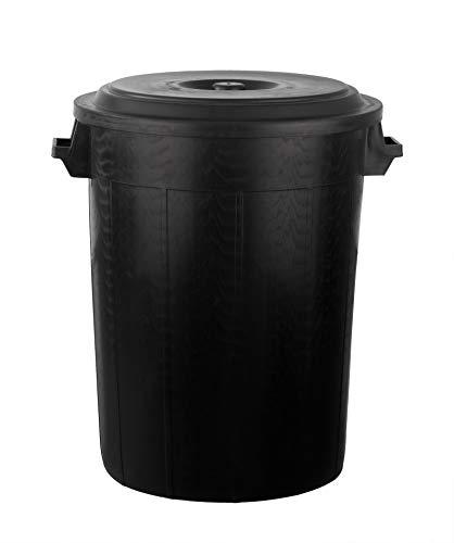 Universaltonne 100 Liter Deckel 2 Tragegriffen Allzweck Tonne Schwarz (100 Liter Tonne mit Deckel)