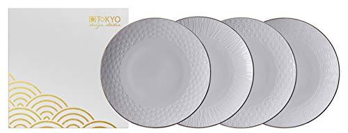 TOKYO design studio Nippon White 4-er Teller-Set weiß, mit Gold-Rand, Ø 19 cm, ca. 2 cm hoch, asiatisches Porzellan, Japanisches Design, inkl. Geschenk-Verpackung