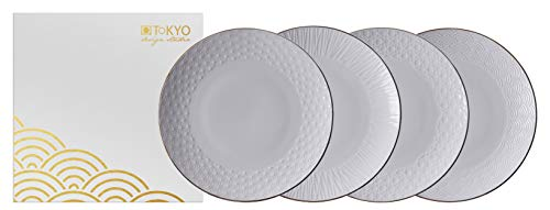 TOKYO design studio Nippon White Set di 4 Piatti, Bianco, con Bordo in Oro, Ø 25 cm, Altezza ca. 3 cm, Porcellana Asiatica, Design Giapponese, Confezione Regalo incl.