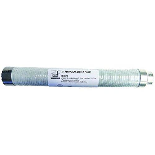 M.B.M. PPKITASP schoorsteenafzuiging pelletkachel uittrekbaar en flexibel, kachelpijp pellets, wit, uittrekbaar tot 35 tot 150 cm, diameter 50 mm