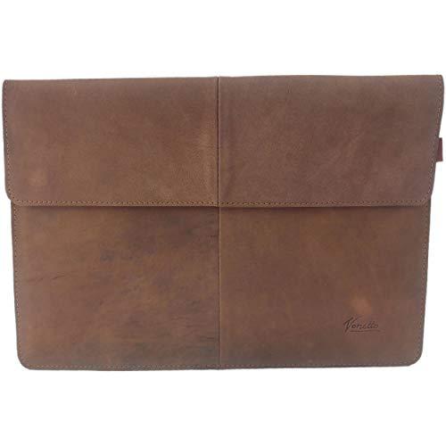 Nubuk-Leder 15,6 Zoll Laptop Tasche Sleeve Hülle Ultrabook Schutzhülle für 15' Notebook aus Wildleder, Ledertasche für Acer Aspire, Asus, Hewlett-Packard HP, MSI, Medion, Lenovo Microsoft (Braun)