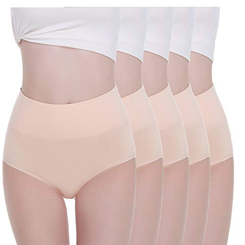 TUUHAW Mutande Donna Pacco da 5 Culotte Vita Alta Slip Cotone Mutantina Elastiche Pantaloncini Post Parto Taglia Nudo L