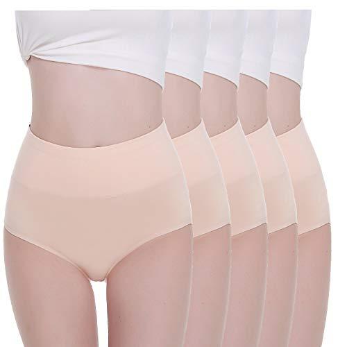 TUUHAW Braguita de Talle Alto Algodón para Mujer Pack de 5 Culotte Bragas de Cintura Alta Cómodo Talla Piel M