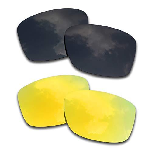 SOODASE Para Oakley Jupiter Squared Gafas de sol Negro/Dorado 2 Pares Lentes de repuesto polarizadas