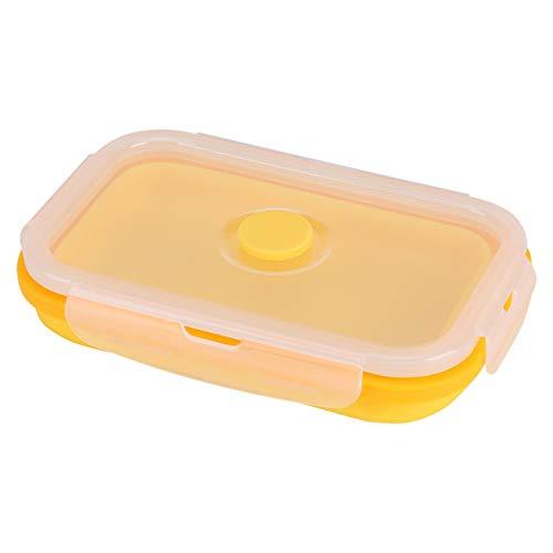 Fiambrera - Caja de almuerzo portátil plegable de silicona de 500 ml Contenedor de almacenamiento de alimentos plegable(amarillo)