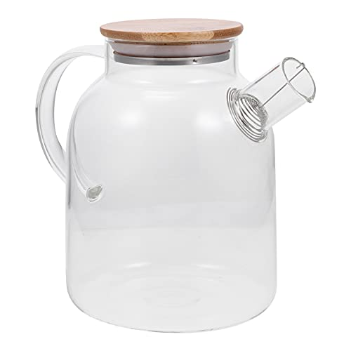HEMOTON High Borosilicate Glass Pitcher Large Capacity Beverage Drink Pitcher with Wood Lid Juice Serving Bottles for Iced Tea Juice Milk Coffee