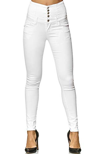 Elara Damen Stretch Jeans Skinny High Waist Chunkyrayan Y5109 White 36 (S)