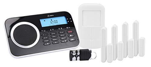 OLYMPIA Protect 9761 GSM Haus Alarm Alarmanlagen-Set mit 4 Tür-/Fensterkontakten 1 Bewegungselder und Fernbedienung, Schwarz