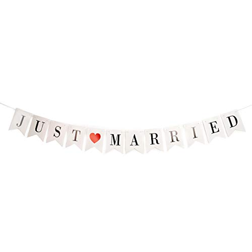 YangMM Just Married Banner Wedding Decor Bunting Photo Booth Props Signs Garland Bridal Shower Car Decorations