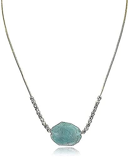 WYDSFWL Collar Collar de Estilo Vintage con Colgante de Piedra Grande Cuentas de Color Dorado Colgante de Piedra Irregular para Mujer Regalo de Regalo Bohemio