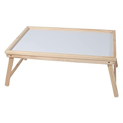 Houten Dienblad voor op bed - Dienblad met pootjes - Bedsteun van Bamboe hout - Ontbijt dienblad - Bedtafel - Ontbijt op bed - ca. 50 x 30 x 23 cm - Lichte houtskleur - Gerimport