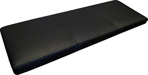 Quattro Meble Schwarz Echtleder Bankauflage Sitzkissen Lederkissen Sitzpolster Bank Auflage doppelt genähtes Echt Leder Kissen Sitzauflage (40 x 80 cm)